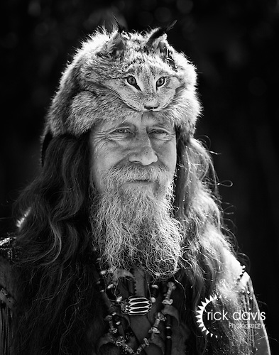 A character actor dresses in Mountain man attire during the annual Cheyenne Frontier days Rodeo held in Cheyenne, Wyoming.