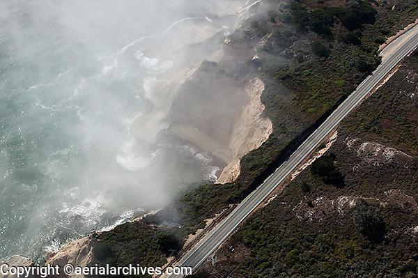 aerial photograph Highway One coastal Santa Cruz county, California