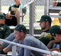 Daulton Jefferies (leaning forward), James Kaprielian (to the right in teh back) - Oakland Athletics 2018 extended spring training (Bill Mitchell)
