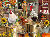 Lori, LANDSCAPES, LANDSCHAFTEN, PAISAJES, paintings+++++Chickens On The Farm_Fall_3_72,USLS148,#l#, EVERYDAY ,puzzle,puzzles