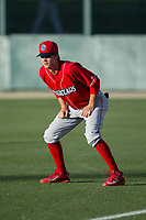 Lakewood BlueClaws outfielder Mickey Moniak (22) warms up in the outfield prior to the game against the Kannapolis Intimidators at Kannapolis Intimidators Stadium on April 7, 2017 in Kannapolis, North Carolina.  The BlueClaws defeated the Intimidators 6-4.  (Brian Westerholt/Four Seam Images)