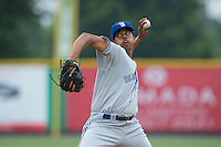 Bluefield Blue Jays starting pitcher Angel Perdomo (51) in action against the Burlington Royals at Burlington Athletic Park on July 1, 2015 in Burlington, North Carolina.  The Royals defeated the Blue Jays 5-4. (Brian Westerholt/Four Seam Images)