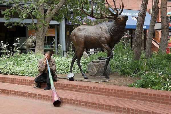 """Musician playing didjeridoo.  From John's 4th book: """"Boulder, Colorado: A Photographic Portrait."""" <br /> Outside Imagery offers Boulder photo tours and Boulder hikes.  Colorado tours year-round. Rocky Mountain National Park tours."""