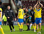 Hearts v St Johnstone...03.12.11   SPL .Saints asst manager Tommy Wright celebrates at full time, manager Steve Lomas was in the stands due to a one match ban.Picture by Graeme Hart..Copyright Perthshire Picture Agency.Tel: 01738 623350  Mobile: 07990 594431