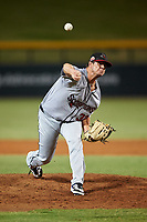Scottsdale Scorpions relief pitcher Maverik Buffo (32), of the Toronto Blue Jays organization, during an Arizona Fall League game against the Mesa Solar Sox on September 18, 2019 at Sloan Park in Mesa, Arizona. Scottsdale defeated Mesa 5-4. (Zachary Lucy/Four Seam Images)