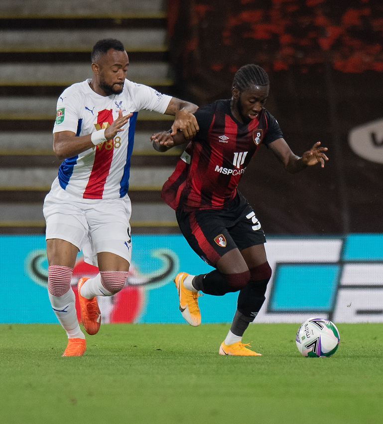 Crystal Palace's Jordan Ayew (left) battles for possession with Bournemouth's Jordon Zemura (right)<br /> <br /> Photographer David Horton/CameraSport<br /> <br /> Carabao Cup Second Round Southern Section - Bournemouth v Crystal Palace - Tuesday 15th September 2020 - Vitality Stadium - Bournemouth<br />  <br /> World Copyright © 2020 CameraSport. All rights reserved. 43 Linden Ave. Countesthorpe. Leicester. England. LE8 5PG - Tel: +44 (0) 116 277 4147 - admin@camerasport.com - www.camerasport.com