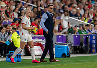 ORLANDO, FL - MARCH 05: Alex Greenwood #3 of England prepares to throw the ball in with Phil Neville beside her during a game between England and USWNT at Exploria Stadium on March 05, 2020 in Orlando, Florida.