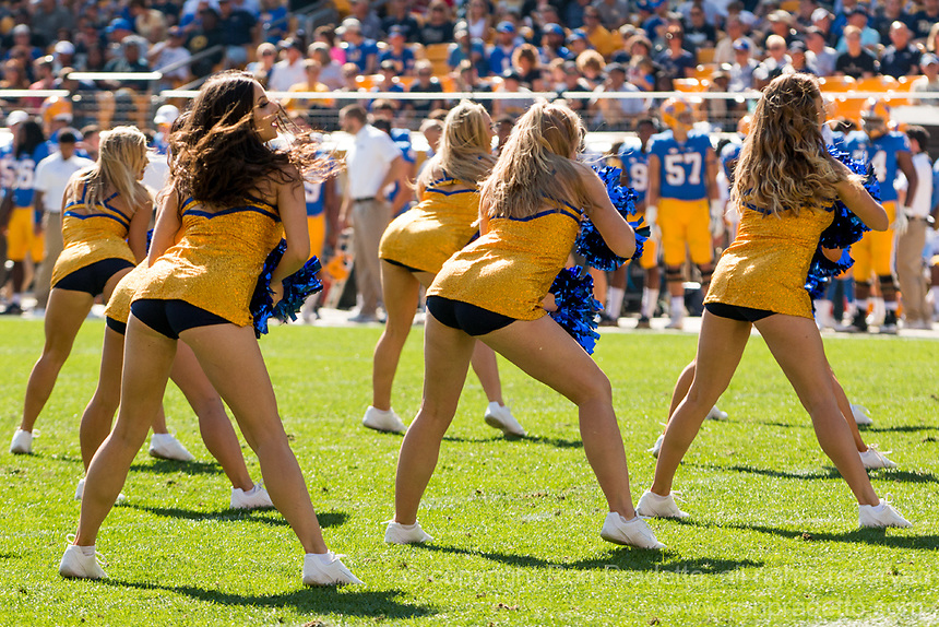 Members if the Pitt dance team perform during a break. The North Carolina Wolfpack defeated the Pitt Panthers 35-17 at Heinz Field, Pittsburgh, PA on October 14, 2017.