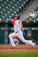 "Buffalo Bisons Reese McGuire (7) hits a single during an International League game against the Scranton/Wilkes-Barre RailRiders on June 5, 2019 at Sahlen Field in Buffalo, New York.  The Bisons wore special uniforms as they played under the name the ""Buffalo Wings"".  Scranton defeated Buffalo 3-0, the first game of a doubleheader.  (Mike Janes/Four Seam Images)"
