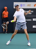 MIAMI GARDENS, FL - MARCH 30: Jannik Sinner Vs Emil Ruusuvuori at the 2021Miami Open at Hard Rock Stadium on March 30, 2021 in Miami Gardens, Florida. <br /> CAP/MPI04<br /> ©MPI04/Capital Pictures