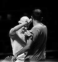 Rotterdam, The Netherlands, 9 Februari 2020, ABNAMRO World Tennis Tournament, Ahoy, Doubles: Denis Shapovalov (CAN) and Rohan Bopanna (IND) celebrate their win. Photo: www.tennisimages.com