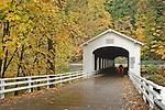 Goodpasture Covered Bridge on the McKenzie River; Lane County, Oregon.