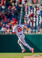 30 April 2017: Washington Nationals first baseman Adam Lind rounds second after hitting a 2-run, pinch-hit homer in the 8th inning against the New York Mets at Nationals Park in Washington, DC. The Nationals defeated the Mets 23-5, with the Nationals setting several individual and team records, in the third game of their weekend series. Mandatory Credit: Ed Wolfstein Photo *** RAW (NEF) Image File Available ***