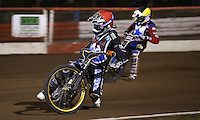 Heat 5: Kim Nilsson (red) and Kelvin Tatum (yellow) - Lakeside Hammers v Rico's All Stars, The Rico Spring Classic at the Arena Essex Raceway, Pufleet - 20/03/15 - MANDATORY CREDIT: Rob Newell/TGSPHOTO - Self billing applies where appropriate - 0845 094 6026 - contact@tgsphoto.co.uk - NO UNPAID USE