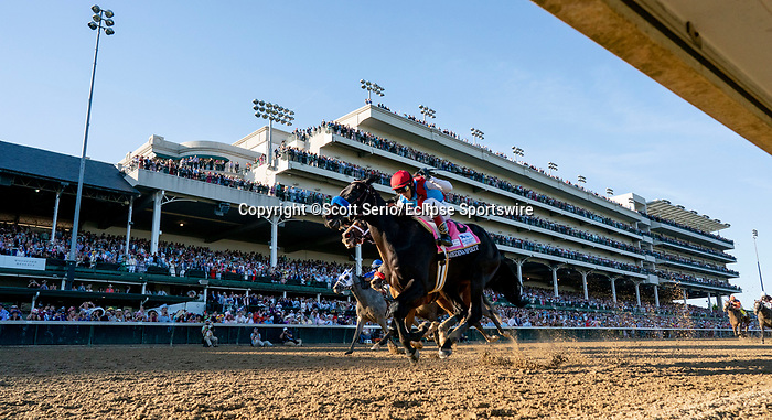 May 1, 2021 : Medina Spirit, #8, ridden by jockey John Velazquez, wins the 147th running of the Kentucky Derby on Kentucky Derby Day at Churchill Downs on May 1, 2021 in Louisville, Kentucky. Scott Serio/Eclipse Sportswire/CSM