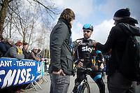 Sir Bradley Wiggins (GBR/Sky) interviewed at the start<br /> <br /> 3 Days of De Panne 2015