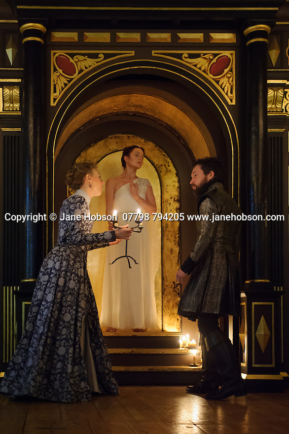 Shakespeare's Globe presents THE WINTER'S TALE, by William Shakespeare, in the Sam Wanamaker Playhouse. Picture shows: Niamh Cusack (Paulina), Rachael Stirling (Hermione), John Light (Antigonus)