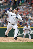 July 23, 2008: J.J. Putz of the Seattle Mariners toes the rubber against the Boston Red Sox at Safeco Field in Seattle, Washington.
