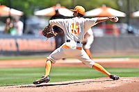 Tennessee Volunteers starting pitcher Will Neely (15) delivers a pitch during a game against the Vanderbilt Commodores at Lindsey Nelson Stadium on April 24, 2016 in Knoxville, Tennessee. The Volunteers defeated the Commodores 5-3. (Tony Farlow/Four Seam Images)