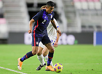 FORT LAUDERDALE, FL - DECEMBER 09: Julian Araujo #2 of the United States chases down a loose ball during a game between El Salvador and USMNT at Inter Miami CF Stadium on December 09, 2020 in Fort Lauderdale, Florida.