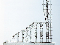 Section diagram of exterior scaffolding during construction of the  Colosseum, Rome Italy, 70-80 CE