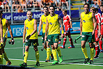 The Hague, Netherlands, June 07: Players of Australia leave the field for halftime during the field hockey group match (Men - Group A) between England and Australia on June 7, 2014 during the World Cup 2014 at Kyocera Stadium in The Hague, Netherlands. Final score 0-5 (0-4) (Photo by Dirk Markgraf / www.265-images.com) *** Local caption *** Matthew Swann #20 of Australia, Simon Orchard #3 of Australia, Kieran Govers #27 of Australia, Liam de Young #2 of Australia
