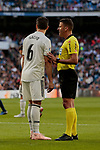 Real Madrid's Nacho Fernandez have words with referee Jesus Gil Manzano during La Liga match between Real Madrid and Real Valladolid at Santiago Bernabeu Stadium in Madrid, Spain. November 03, 2018. (ALTERPHOTOS/A. Perez Meca)
