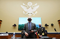 Dr. Anthony Fauci, Director, National Institute for Allergy and Infectious Diseases, National Institutes of Health (C) and ADM Brett P. Giroir, Assistant Secretary for Health U.S. Department of Health and Human Services, arrive for a  House Committee on Energy and Commerce hearing on the Trump Administration's Response to the COVID-19 Pandemic, on Capitol Hill in Washington, DC on Tuesday, June 23, 2020. <br /> Credit: Kevin Dietsch / Pool via CNP/AdMedia