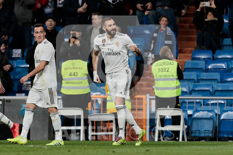 Real Madrid's Karim Benzema celebrates goal during La Liga match between Real Madrid and SD Huesca at Santiago Bernabeu Stadium in Madrid, Spain. March 31, 2019. (ALTERPHOTOS/A. Perez Meca)