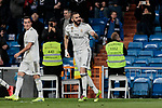 Real Madrid's Karim Benzema celebrates goal during La Liga match between Real Madrid and SD Huesca at Santiago Bernabeu Stadium in Madrid, Spain. March 31, 2019. (ALTERPHOTOS/A. Perez Meca)