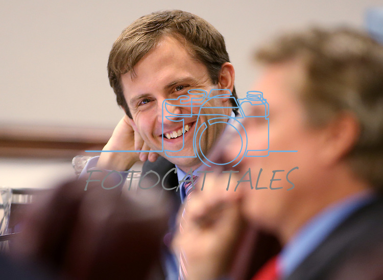 Nevada Assemblyman Elliot Anderson, D-Las Vegas, works in committee at the Legislative Building in Carson City, Nev., on Wednesday, April 29, 2015. <br /> Photo by Cathleen Allison