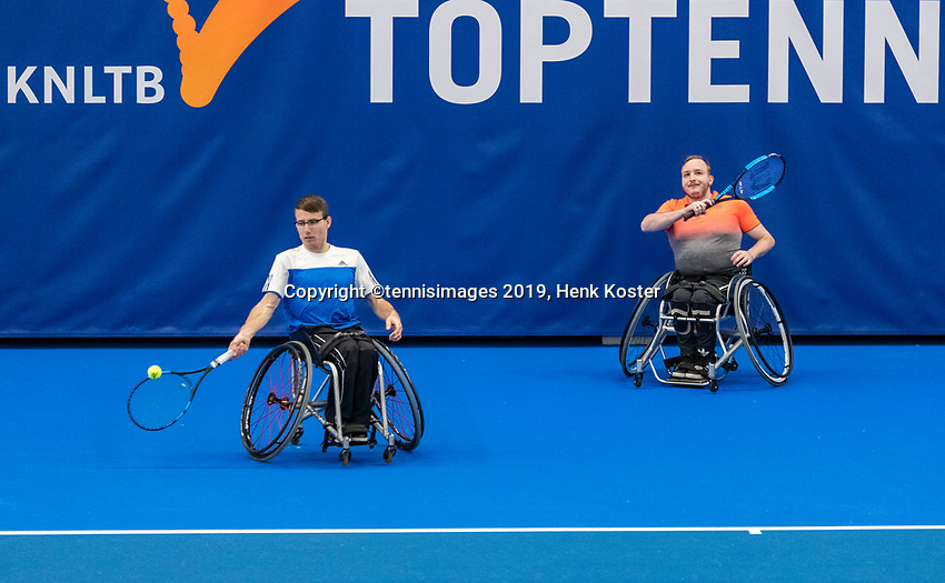 Amstelveen, Netherlands, 8  December, 2020, National Tennis Center, NTC, NKR, National  Indoor Wheelchair Tennis Championships, Men's doubles : Marco Eggink<br /> Mitchel Graauw (NED)<br /> Photo: Henk Koster/tennisimages.com