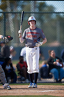 Jack Hardgrove during the Under Armour All-America Pre-Season Tournament, powered by Baseball Factory, on January 19, 2019 at Fitch Park in Mesa, Arizona.  Jack Hardgrove is a left fielder from Fort Worth, Texas who attends Fort Worth All Saints.  (Mike Janes/Four Seam Images)