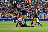 Sunday 01 September 2013<br /> Pictured:  Ben Davies (FRONT R) of Swansea opening trhe score, Billy Jones of West Brom (L) is left on the ground watching.<br /> Re: Barclay's Premier League, West Bromwich Albion v Swansea City FC at The Hawthorns, Birmingham, UK.