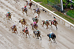 LOUISVILLE, KY - MAY 06: Limousine Liberal #9, ridden by Jose Ortiz, leads the field down the home stretch and wins the Churchill Downs Stakes  on Kentucky Derby Day at Churchill Downs on May 6, 2017 in Louisville, Kentucky. (Photo by Jon Durr/Eclipse Sportswire/Getty Images)
