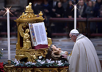 Pope Francis celebrates the Vespers and Te Deum prayers in Saint Peter's Basilica at the Vatican on December 31, 2018
