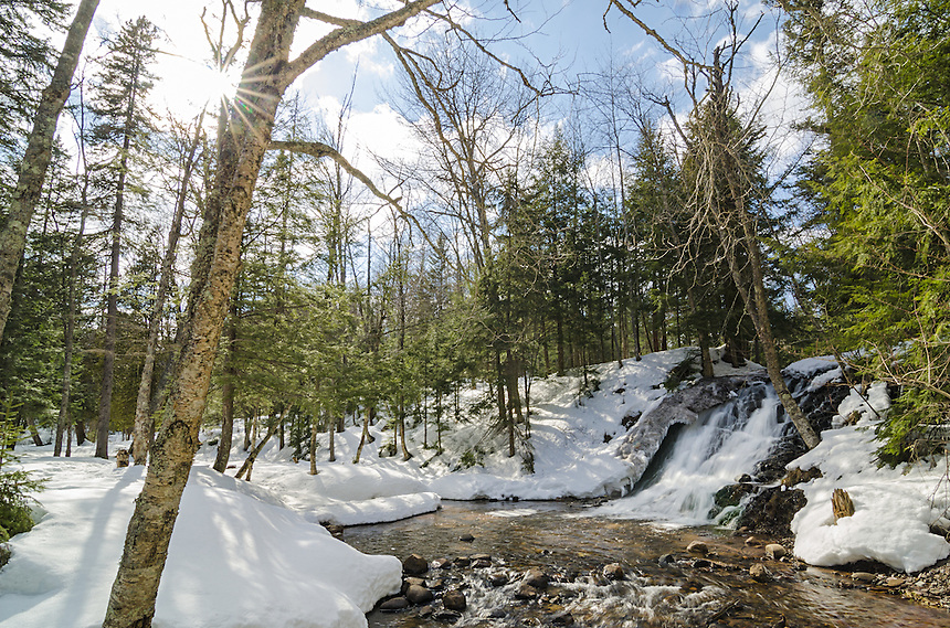 An early springtime view of beautiful Morgan Creek Falls in Marquette, MI.