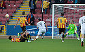 After beating several defenders Ayr Utd's Michael Moffat shoots well wide.