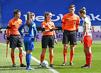 midfielder Sien Vandersanden (10) of KRC Genk and Pauline Windels (5) of Zulte-Waregem pictured during a female soccer game between  Racing Genk Ladies and SV Zulte-Waregem on the 18 th and last matchday before the play offs of the 2020 - 2021 season of Belgian Scooore Womens Super League , saturday 27 th of March 2021  in Genk , Belgium . PHOTO SPORTPIX.BE | SPP | JILL DELSAUX