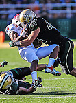 Southern Methodist Mustangs wide receiver Darius Johnson (3)  and Baylor Bears linebacker Bryce Hager (44) in action during the game between the Southern Methodist Mustangs and the Baylor Bears at the Floyd Casey Stadium in Waco, Texas. Baylor defeats SMU 59 to 24.