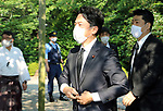 August 15, 2020, Tokyo, Japan - Japanese Environment Minister Shinjiro Koizumi arrives at the Yasukuni shrine to honor war victims in Tokyo on Saturday, August 15, 2020. Japan marked the 75th anniversary of its surrender of World War II.        (Photo by Yoshio Tsunoda/AFLO)