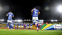 BOGOTA - COLOMBIA, 21-07-2021: Jugadores de Millonarios F. C. entran a la cancha para el partido de la fecha 2 entre Millonarios F. C. y Deportes Quindio por la Liga BetPlay DIMAYOR II 2021 jugado en el estadio Nemesio Camacho El Campin de la ciudad de Bogota. / Players of Millonarios F. C. enter the field for the match between Millonarios F. C. and Deportes Quindio of the 2nd date for the BetPlay DIMAYOR II 2021 League played at the Nemesio Camacho El Campin Stadium in Bogota city. / Photo: VizzorImage / Luis Ramirez / Staff.