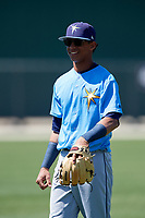 Tampa Bay Rays Jelfry Marte (76) warms up before a Minor League Spring Training game against the Minnesota Twins on March 17, 2018 at CenturyLink Sports Complex in Fort Myers, Florida.  (Mike Janes/Four Seam Images)