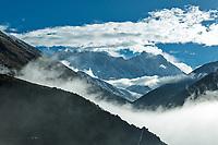 Nuptse, Mount Everest and Lhotse at sunrise viewed from Panghboche village, Khumbu, Nepal