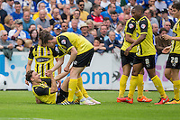 Matty Cash Dagenham & Redbridge is helped up after scoring his side's first goal during the Sky Bet League 2 match between Bristol Rovers and Dagenham and Redbridge at the Memorial Stadium, Bristol, England on 7 May 2016. Photo by Mark  Hawkins / PRiME Media Images.