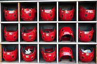 Memphis Redbirds helmets on June 12, 2013 at Autozone Park in Memphis, Tennessee. Memphis defeated New Orleans 9-3. (Andrew Woolley/Four Seam Images)