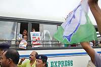 Pictured: Arrested congress activist are transported by a bus.<br /> Re: Activists of the Congress political party clash with police in protest against price rises in oil, gas and other daily commmodities by BJP government in Agartala, in the Tripura area of India. Monday 10 September 2018