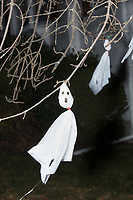 Hand-made ghost decorations hang from a tree on Orchard Street in Belmont, Massachusetts, USA, before Halloween on Mon., Oct. 30, 2017.