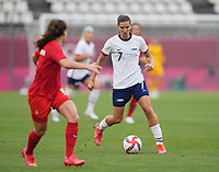 KASHIMA, JAPAN - AUGUST 2: Tobin Heath #7 of the United States with the ball during a game between Canada and USWNT at Kashima Soccer Stadium on August 2, 2021 in Kashima, Japan.