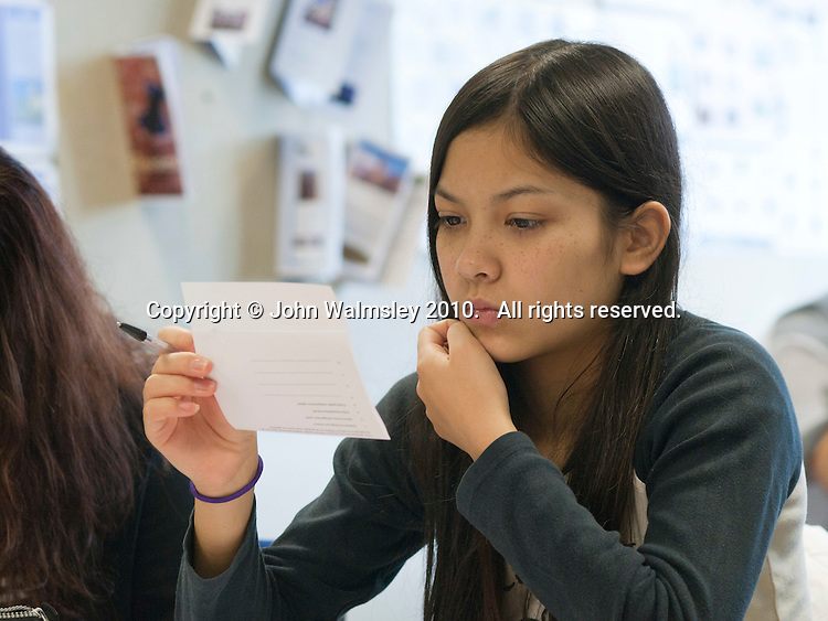 English as a Foreign Language students in class, Further Education College.